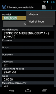 Wydruk etykiety Android
