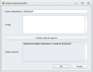 Poprawny import zamówienia EDI